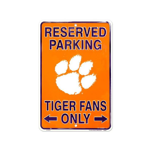 Clemson Tigers Reserved Tin Sign Wall Art ($7.79) ❤ liked on Polyvore featuring home, home decor, wall art, sports wall art, sports tin signs, tin signs, tin wall art and sports signs