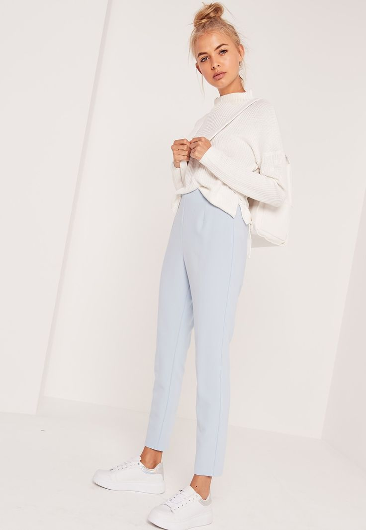 Missguided - High Waisted Cigarette Trousers Blue