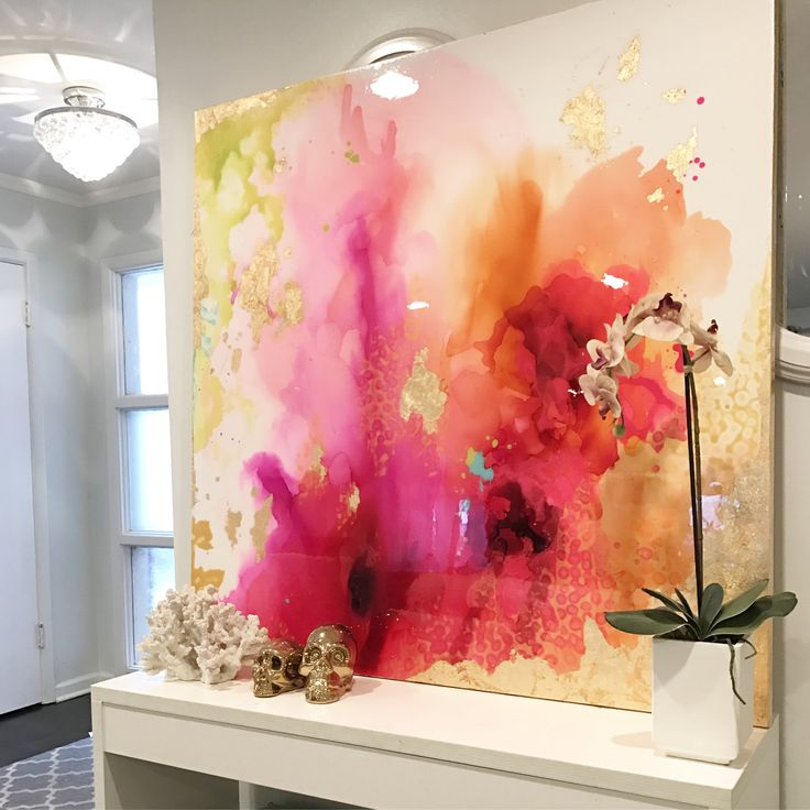SOLD! Abstract Art Large Canvas Painting , White, fuschia, orange, chartreuse, gold Ink Ombre and Resin Coat 48″ x 48″ real gold leaf – Irene Köcheler