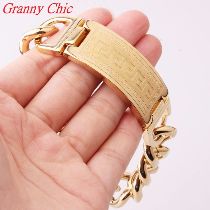 """>> Click to Buy << Granny Chic 8.66""""*20mm 316l Stainless Steel Jewelry Great Wall Curb Cuban Chain Men's Gold Cuff Bracelet Bangle For Male #Affiliate"""