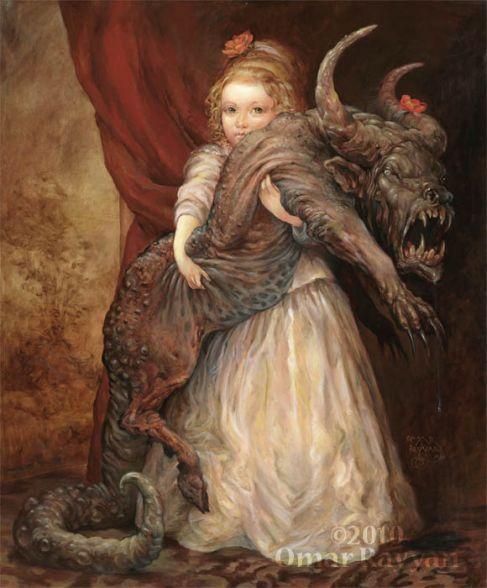 Aww...cuddly little pet  The Favorite, oil on panel  - Omar Rayyan