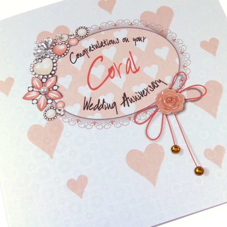 Handmade Luxury Embossed Coral Anniversary Card 35 Years Heirloom Regal Royal Sparkling Crystals Topaz Embellishments - 'Congratulations on your Coral Wedding Anniversary'
