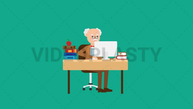 An older professor with gray hair wearing a brown suit is sitting at his desk working on a computer. There are many books and an apple on the desk. Two versions are included: normal (with a start animation) and loopable. The normal version can be extended with the loopable version Clip Length:10 seconds Loopable: Yes Alpha Channel: Yes Resolution:FullHD Format: Quicktime MOV