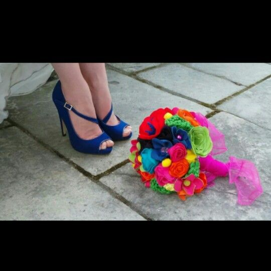 My Something Blue shoes and Fabric Flower Bouquet. Bright colours. A bit different