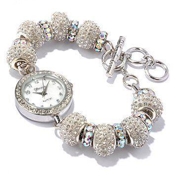 Geneva Platinum 12799312 Women's Rhinestone Toggle Watch - AB WHITE Geneva. $28.99