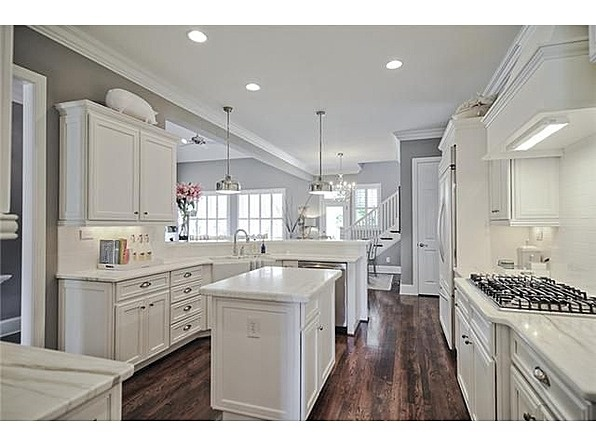 White Cabinets + Hardwoods + Kitchen Island - light gray granite instead