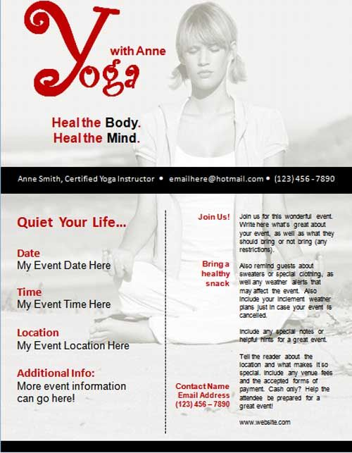 24 best Yoga flyer images on Pinterest Drawings, Flyers and - yoga flyer