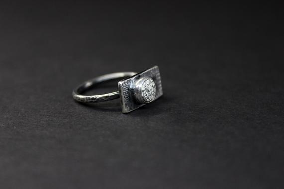 Gugma Jewelry Nevada Mine Boho Minimalist SIZE 6 New Lander New Lander Chalcosiderite Turquoise Sterling Silver Ring