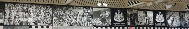 Black and white pictures of Newcastle United players at St James Park metro station