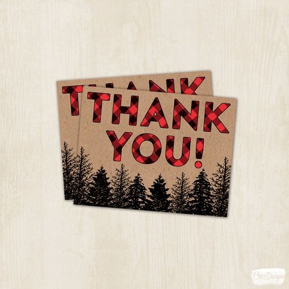 Lumberjack Party  Thank You Card  Wilderness  Red  by ChiccDesigns
