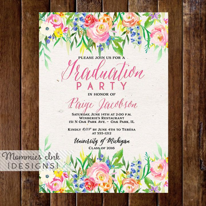 sample open house graduation party invitations%0A OFF SALE Graduation Party Invitation  Watercolor Flowers Invitation  Floral  Invitation  Class of Open House Invite  Shower Invitat