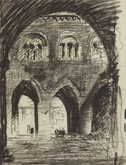 """LOUIS I. KAHN, """"Cortile of 'Il Gotico' (Palazzo Communale), Piacenza,"""" 1928-1929"""