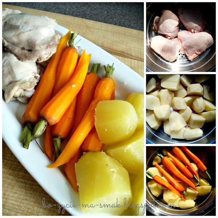 Bo życie ma smak !!!: Obiad na parze. Kurczak+ziemniaki+marchewka.