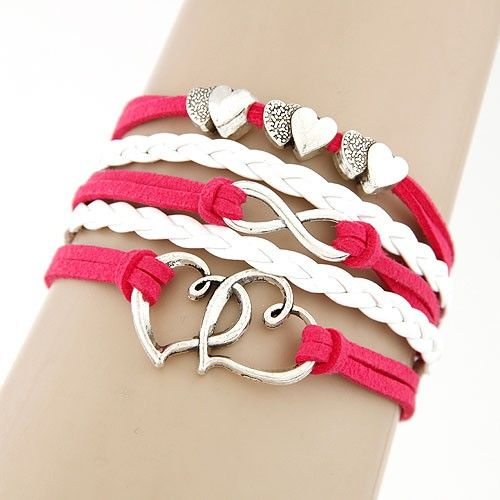 Occident fashion vintage double layer  heart to heart  handmade multi-layer bracelet 217105