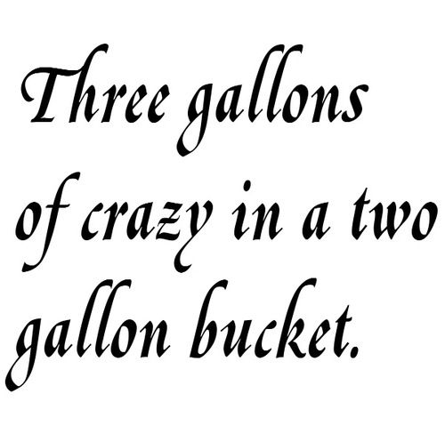 3 gallons of crazy - QS PRN.  This should be a duck dynasty quote