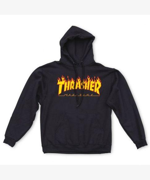 THRASHER HOODIE FLAME BLACK