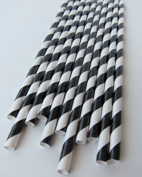 25 Black and White Striped Paper Straws by MangoStreetStraws, $4.00