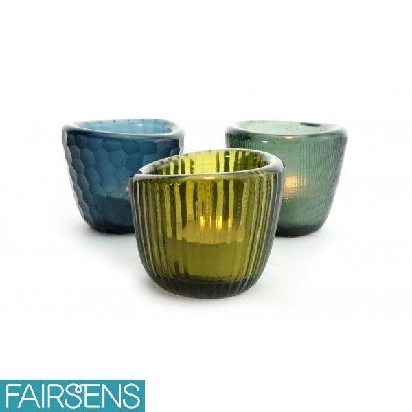 Photophores VOTIVE TRIO en verre recyclé (assortiment au choix) - Fairsens #décoration #éco-responsable