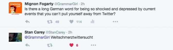 Weltschmerztwittersucht: A Word to Describe Obsessing Over News on Twitter       It turns out the Germans do have a word, or at least the beginning of a word, that describes what happens to me every time it feels like the world is falling apart, which—let's face it—has been about every three days lately:  Weltschmerz.  When I asked my Twitter friends if there is a long German word for being so  ...Read More