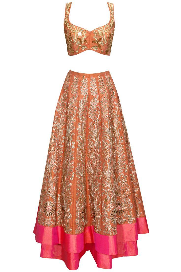 Coral zari work lehenga by Jade. Shop now: http://www.perniaspopupshop.com/designers/jade-by-monica-and-karishma #lehenga #jade #shopnow #perniaspopupshop