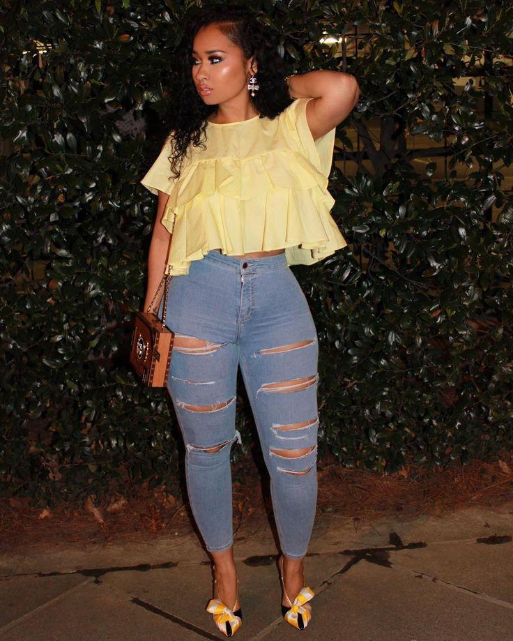 "119.3k Likes, 592 Comments - Tammy Rivera Malphurs (@charliesangelll) on Instagram: ""The thighs don't lie Issa match ... details,.. Shirt: Zara Jeans: Topshop Shoes: Giannico Bag:…"""