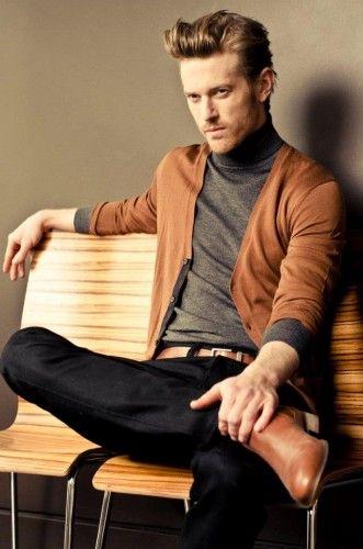 Jordan Weller brown cardigan, grey long sleeve tee, brown belt, black pants, brown dress shoes
