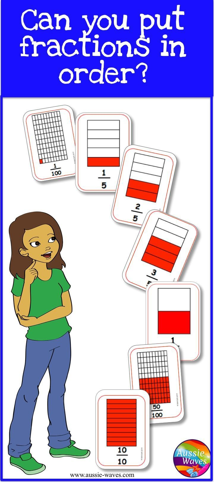 These are printable fraction cards, to use for centre activities. Make a number line, find equivalent fractions and play matching games.