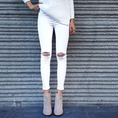 Pinterest: Nearlyroyal ☼. Ripped white jeans + suede booties #missguided