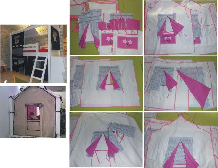 Conjunto de casinha com telhado de tenda no sarja cor pérola contornado com viés cor de rosa claro e viés rosa pink na moldura da janela. Kit composto de 3 janelas retangular, 2 janelas losango, 1 porta com janela e 1 telhado em formato de tenda com 2 janelas. Cortinas no lado externo no chevron e lado interno no rosa pink. 2 bolsos na cor rosa pink com aplicação de flores. Decorative fabric house with 3 windows rectangle, 2 windows, 1 door with window and 1 tent for bunkbed with 2 windows.