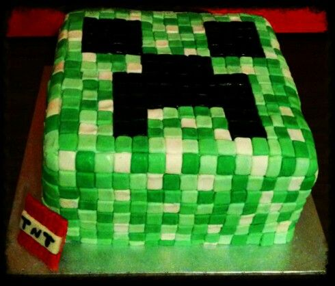 Amazing Minecraft Creeper cake Made by Sweet Tooth Creations for my sons 10th Birthday :) Delicious and AMAZING :)
