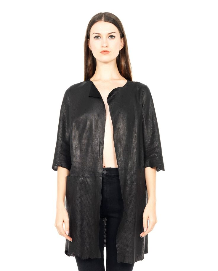B-USED PERFORATED LEATHER JACKET S/S 2016 Perforated black leather jacket round neckline short sleeves  two side pockets  without closure  100% Leather
