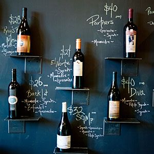 blackboard paint walls with hooks/shelves  - the daily, changing wall - keeps things fresh