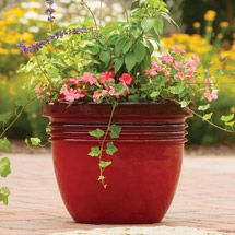 Walmart: Better Homes and Gardens Bombay Decorative Planter, Red Sedona, Multiple Sizes: Flowers Pots, Front Doors, Gardens Bombay, Decor Planters, Red Sedona, Accent Colors, Bombay Planters, Better Home Red Planters,  Flowerpot