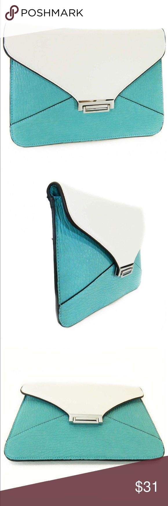 """Turquoise Blue and White Envelope Clutch Color:  turquoise and white;  dimensions:  12""""x 8"""";  2-interior slip pockets;  1-interior zipper pocket;  silver tone hardware Bags Clutches & Wristlets"""