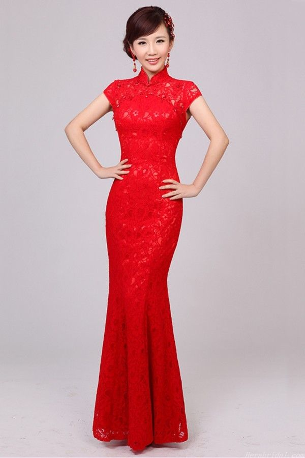 Elegant Beading Short Sleeve Red Lace Chinese Wedding Dress Not Traditional For American Brides But