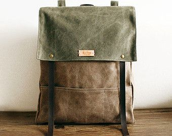 Esercito verde Waxed Canvas Black Leather Backpack di SoBag1989