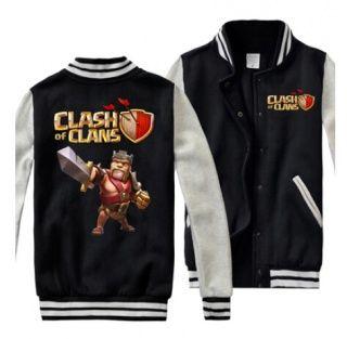 3XL Clash of Clãs mens camisolas de casacos rei bárbaro de beisebol