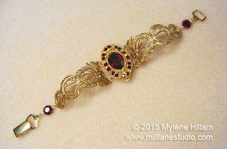 Дизайн Mylene Hillam Милл Лейн Студия: стиль барокко браслет с ETI ювелирные изделия Глина и кристаллами Сваровски