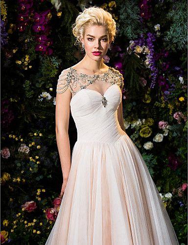 Ball Gown Jewel Court Train Tulle Wedding Dress (2310069) – USD $ 349.99