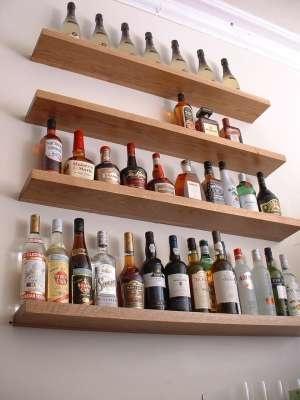 Floating Shelves For Bar. Hang Glasses Underneath.