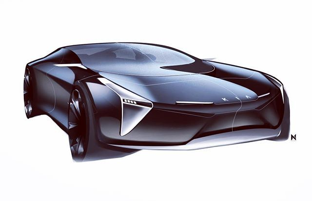 Attempting a black rendering #kia #sketcheverydamnday #idsketching #sketch #designsketch #cardesign