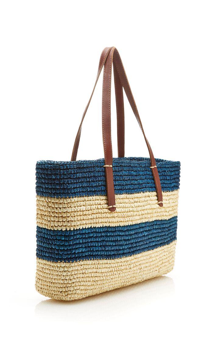 Striped Rectangular Straw Tote by Sensi Studio - Moda Operandi