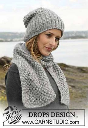 Шапочка и шарф спицами, описание, схемы