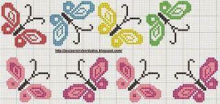 Manualidades y mas: Mariposas en punto de cruz