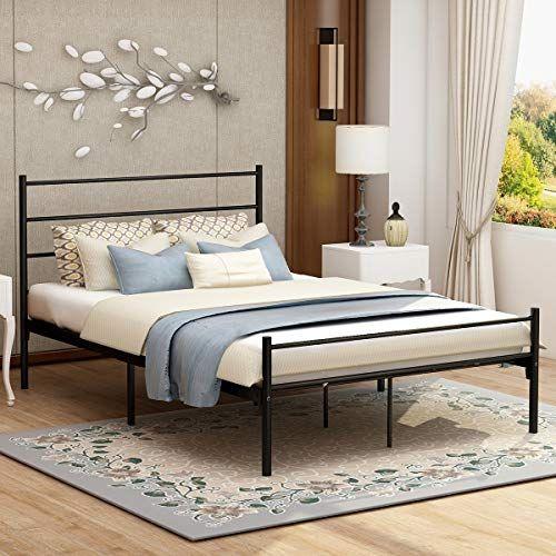 Modern Style Platform Metal Bed Frame Foundation Headboard