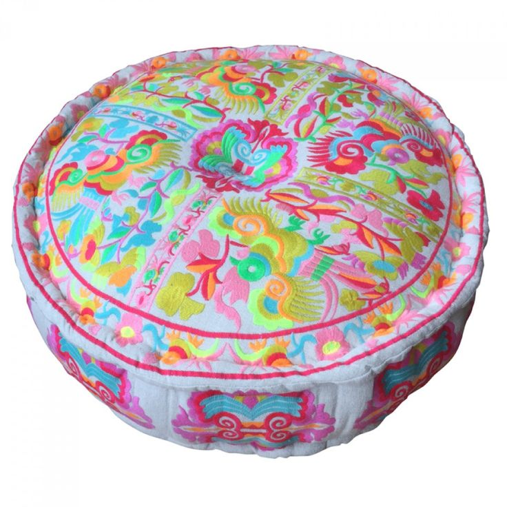 Paradise Embroidered Pouff Multicoloured
