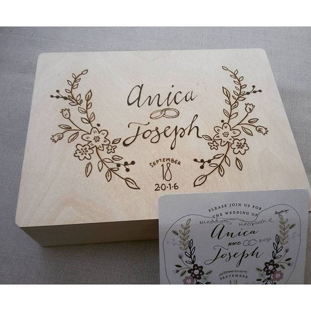 This Is Such A Thoughtful Wedding Gift The Invitation Design Was Wood Burned On