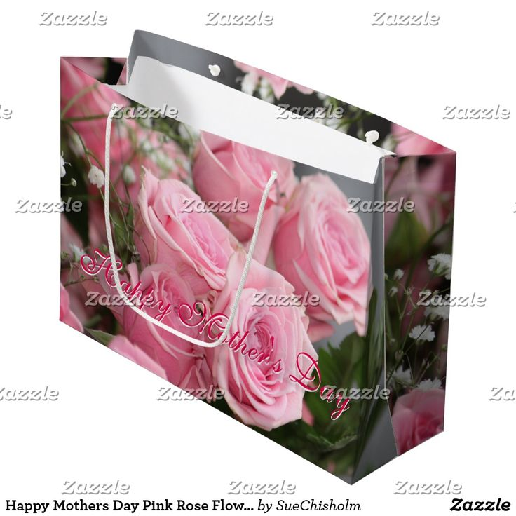 Happy Mothers Day Pink Rose Flowered Large Gift-Bag