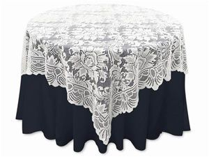 """72""""x72"""" Lace Table Overlays (Jolly Good) - White 