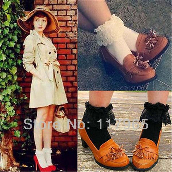 Min.order is $10 (mix order) Fashion Women Vintage Lace Ruffle Frilly Ankle Socks Lady Princess Girl Favorite CH017 US $2.39